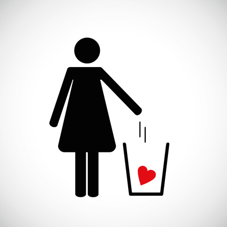 woman throws heart in the trash pictogram icon vector illsutration EPS10 Illustration