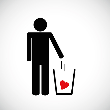 man throws heart in the trash pictogram icon vector illsutration EPS10 Illustration