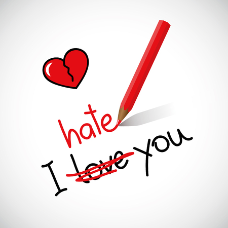 I hate love you typography red broken heart vector illustration EPS10