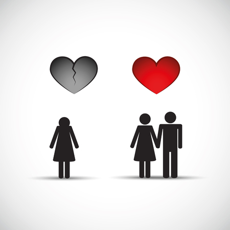 Man leaves wife and starts new relationship pictogram vector illustration EPS10
