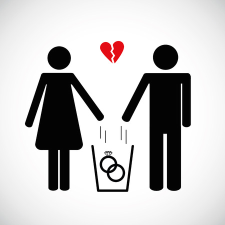 woman and man throws heart in the trash pictogram icon vector illsutration EPS10