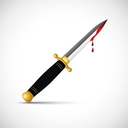 sharp bloody dagger knife isolated Illustration