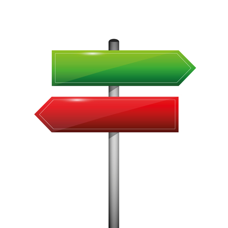 red and green blank direction signpost sign arrow left and right vector illustration EPS10
