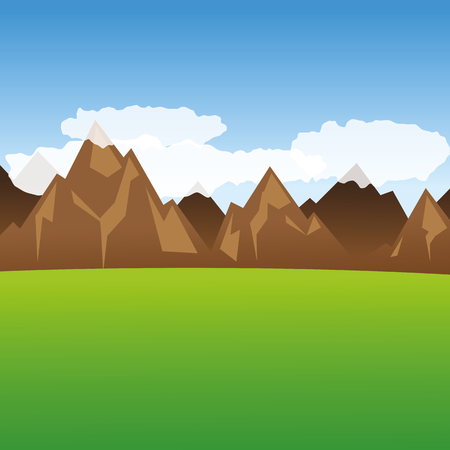 view into the mountains and green meadow vector illustration EPS10