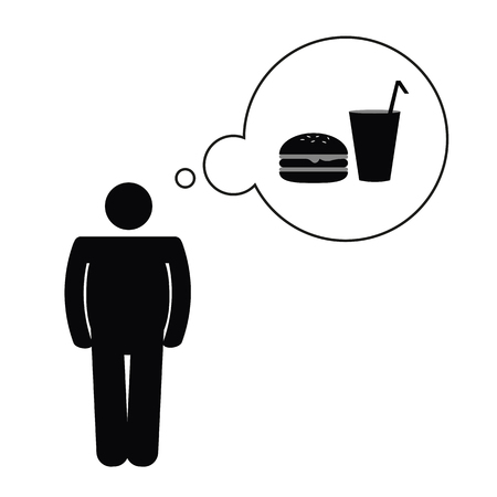fat man think about unhealthy fast food pictogram