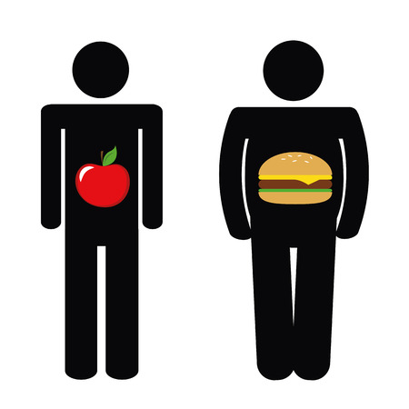 man with healthy apple and with unhealthy fast food burger pictogram vector illustration EPS10