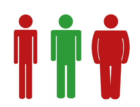 underweight normal weight overweight man pictogram red and green colors vector illustration EPS10