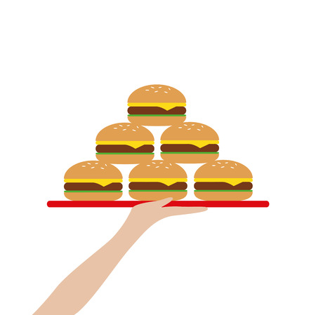 hand holds a tablet with burger tower vector illustration Illustration