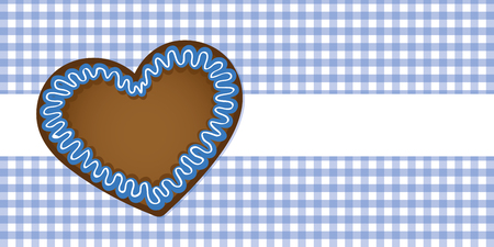 gingerbread heart on blue checkered tablecloth vector illustration EPS10 Vettoriali