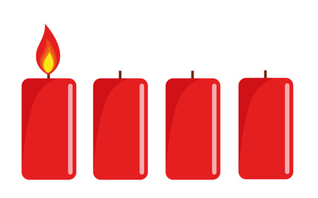 one red lighted advent candle white background vector illustration EPS10