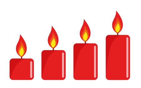 vier rot beleuchtete Adventskerze weißer Hintergrundvektorillustration EPS10 Vektorgrafik