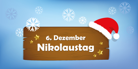 wooden sign 6th december Saint Nicholas Day snow background vector illustration