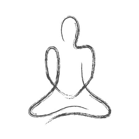 Dibujo a mano alzada, persona en pose de meditación sobre fondo blanco.