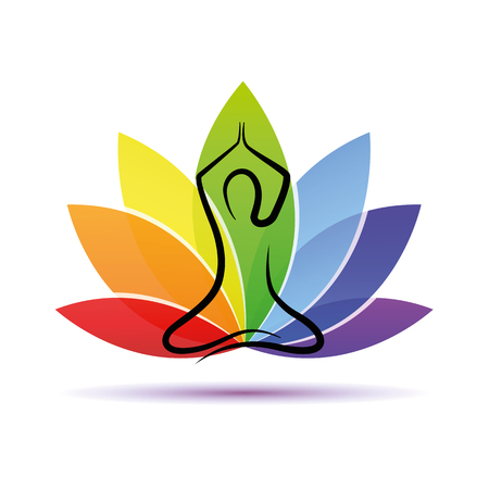 hand drawing yoga person sitting in a lotus pose rainbow colors vector illustration EPS10 Vektorové ilustrace