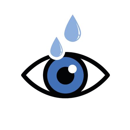 œil sec bleu avec illustration icône gouttes