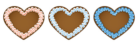 set of three gingerbread hearts in different colors vector illustration EPS10
