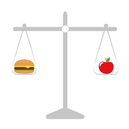 pomme en bonne santé et restauration rapide malsaine balance illustration vectorielle EPS10