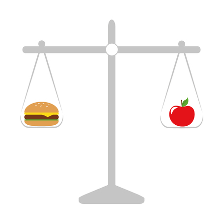 healthy apple and unhealthy fast food libra vector illustration EPS10