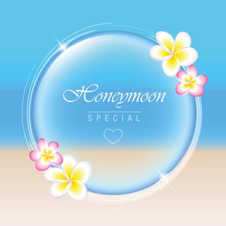 Honeymoon concept paradise holiday frangipani flowers bubble Banque d'images - 109355373