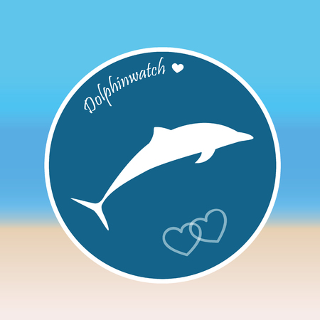 dolphin jumps dolphinwatch beach background vector illustration Illustration