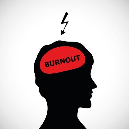 burnout in mans head silhouette concept of stress, headache, depression vector illustration