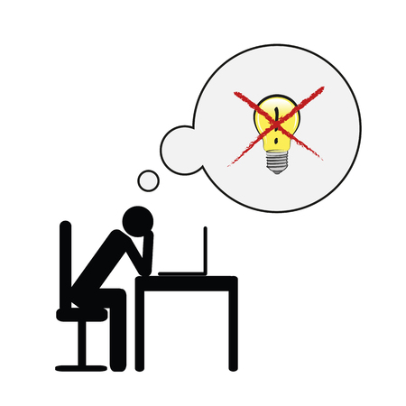 exhausted business man at his desk have no idea pictogram concept of stress, burnout, headache, depression vector illustration