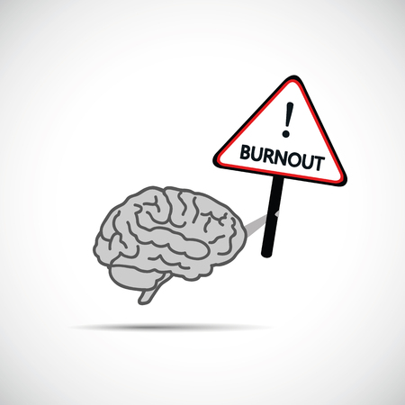 brain holding placard with the word burnout brain need help concept vector illustration
