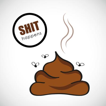 brown poop shit happens typography Ilustração
