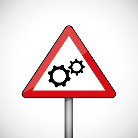 hazard warning attention sign with gears