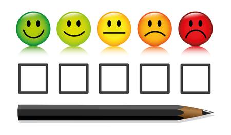 Emoticon smiley rating botones y bolígrafo aislado sobre fondo blanco ilustración vectorial