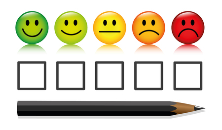 emoticon smiley rating buttons and pen isolated on white background vector illustration