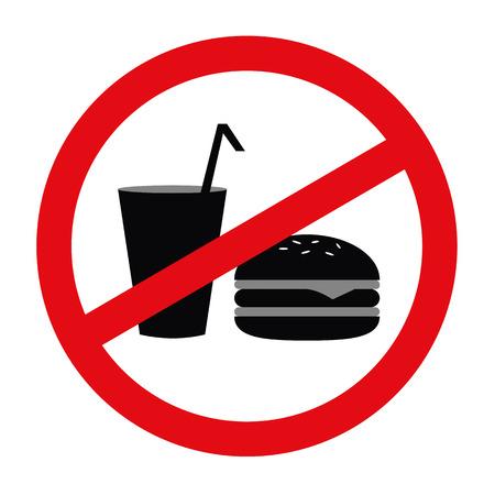 fast food forbidden red sign pictogram vector illustration EPS10