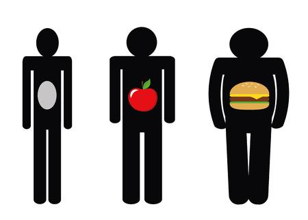 L'insuffisance pondérale poids normal surpoids icônes apple burger homme pictogramme illustration vecteur EPS10 Vecteurs