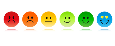 rating six smiley faces red to green and blue vector illustration
