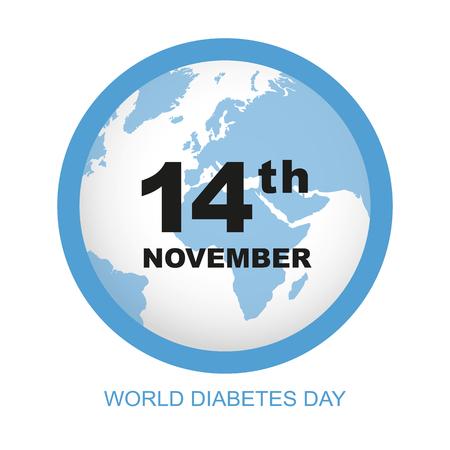 world diabetes day 14th november blue earth 矢量图像