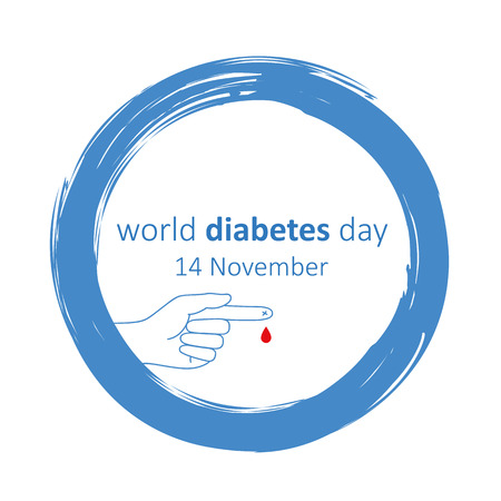 world diabetes day 14 november blue circle and finger with blood drop Vectores
