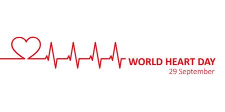 world heart day 29 september banner vector illustration EPS10 Иллюстрация