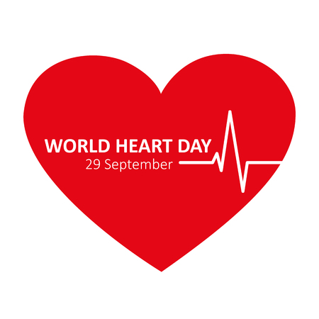 world heart day 29 september red heart beat icon