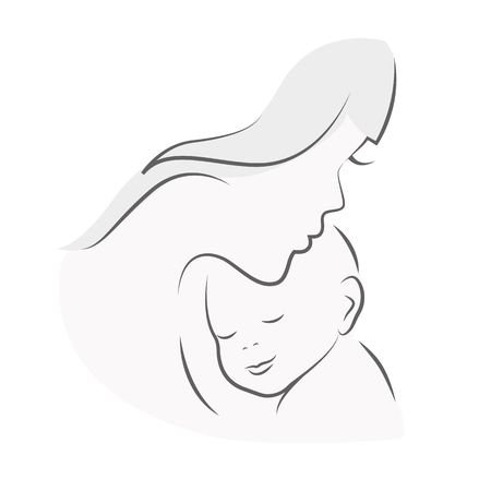mother and baby mom hugs her child line drawing vector illustration EPS10 Ilustracja