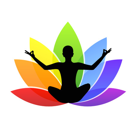 young person sitting in yoga meditation lotus position silhouette with colorful lily in rainbow colors Stock Illustratie