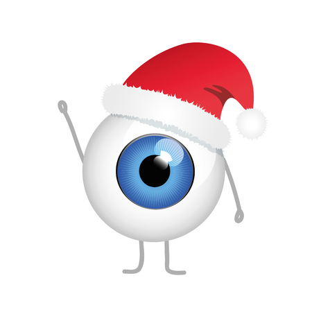 merry christmas blue evil eye with red christmas hat vector illustration EPS10 Ilustración de vector