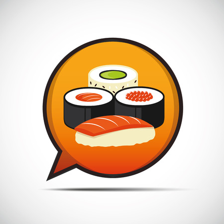 Colorful sushi set of different types in a speech bubble