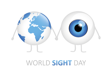 world sight day blue eye and earth holding hands cartoon