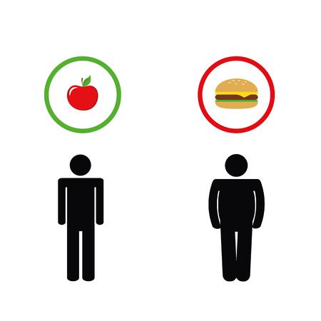 man think about healthy apple and unhealthy fast food pictogram vector illustration EPS10 Ilustração Vetorial