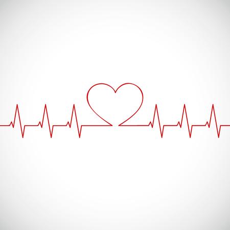 geneeskunde hartslag vlakke lijnen cardiogram vectorillustratie eps10