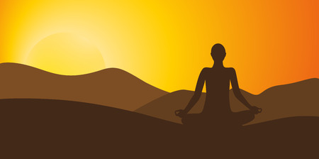 person meditating on high mountain in sunset background vector illustration EPS10