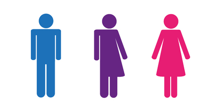 colorful set of restroom icons including gender neutral icon pictogram