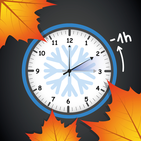 switch to winter time concept for daylight saving with autumn leaves on black background vector illustration EPS10