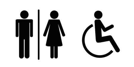 set of WC icons isolated on a white background male female and handicapped person toilet sign pictogram vector illustration EPS10