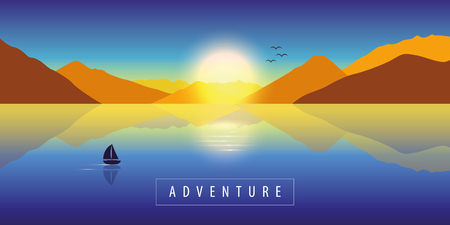 adventure autumn landscape background with lonely sailboat on a calm sea and mountain view at colorful sunset vector illustration EPS10 Ilustração